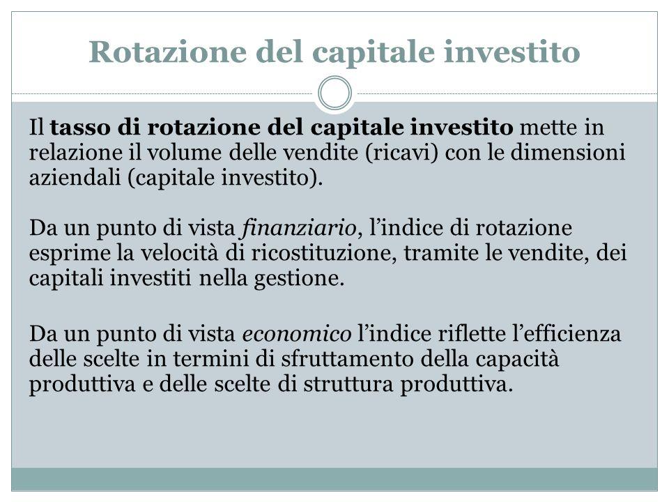 Rotazione del capitale investito Il tasso di rotazione del capitale investito mette in relazione il volume delle vendite (ricavi) con le dimensioni az