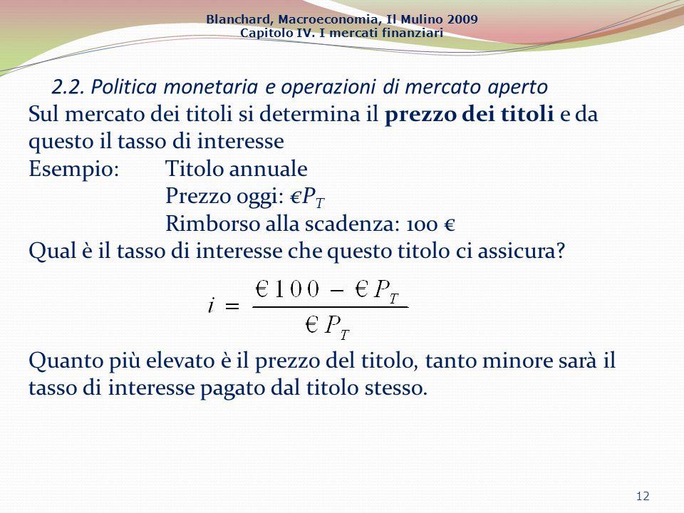 Blanchard, Macroeconomia, Il Mulino 2009 Capitolo IV. I mercati finanziari 2.2. Politica monetaria e operazioni di mercato aperto 12 Sul mercato dei t