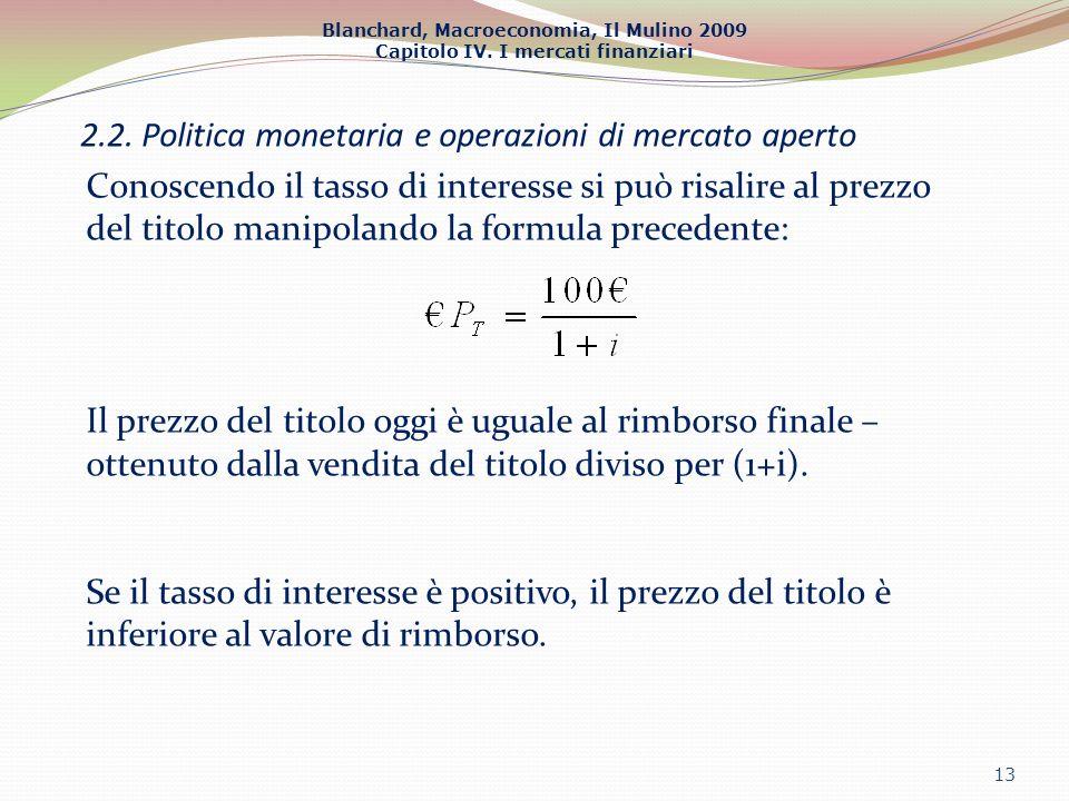 Blanchard, Macroeconomia, Il Mulino 2009 Capitolo IV. I mercati finanziari 2.2. Politica monetaria e operazioni di mercato aperto 13 Conoscendo il tas