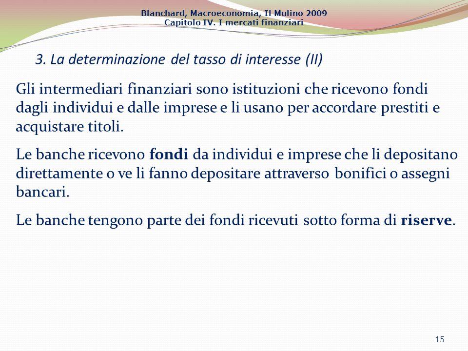 Blanchard, Macroeconomia, Il Mulino 2009 Capitolo IV. I mercati finanziari 3. La determinazione del tasso di interesse (II) 15 Gli intermediari finanz