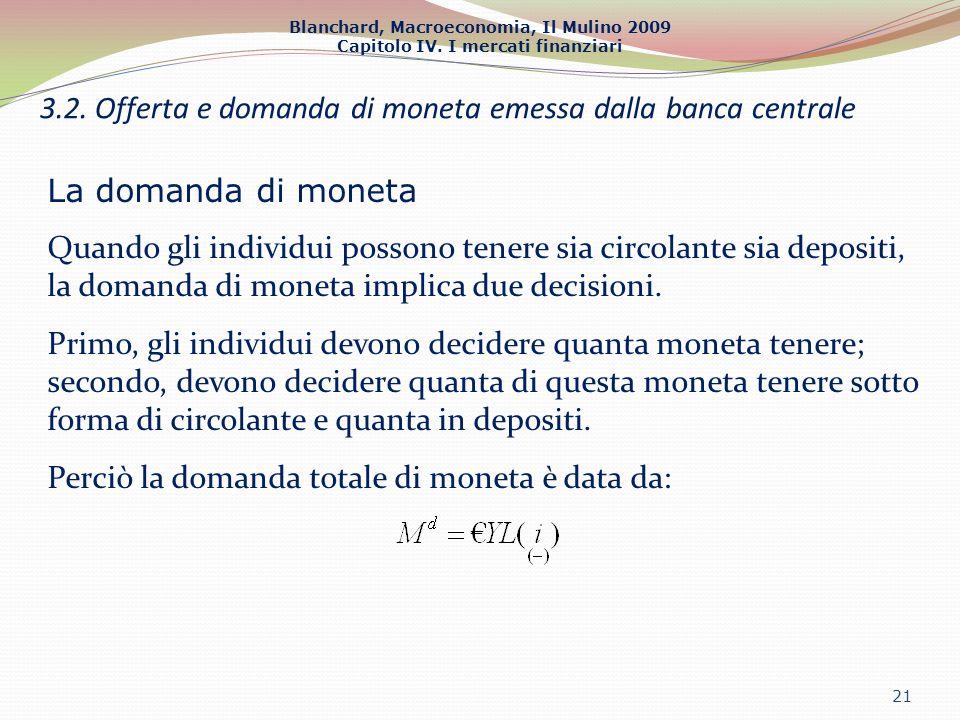 Blanchard, Macroeconomia, Il Mulino 2009 Capitolo IV. I mercati finanziari 21 3.2. Offerta e domanda di moneta emessa dalla banca centrale La domanda