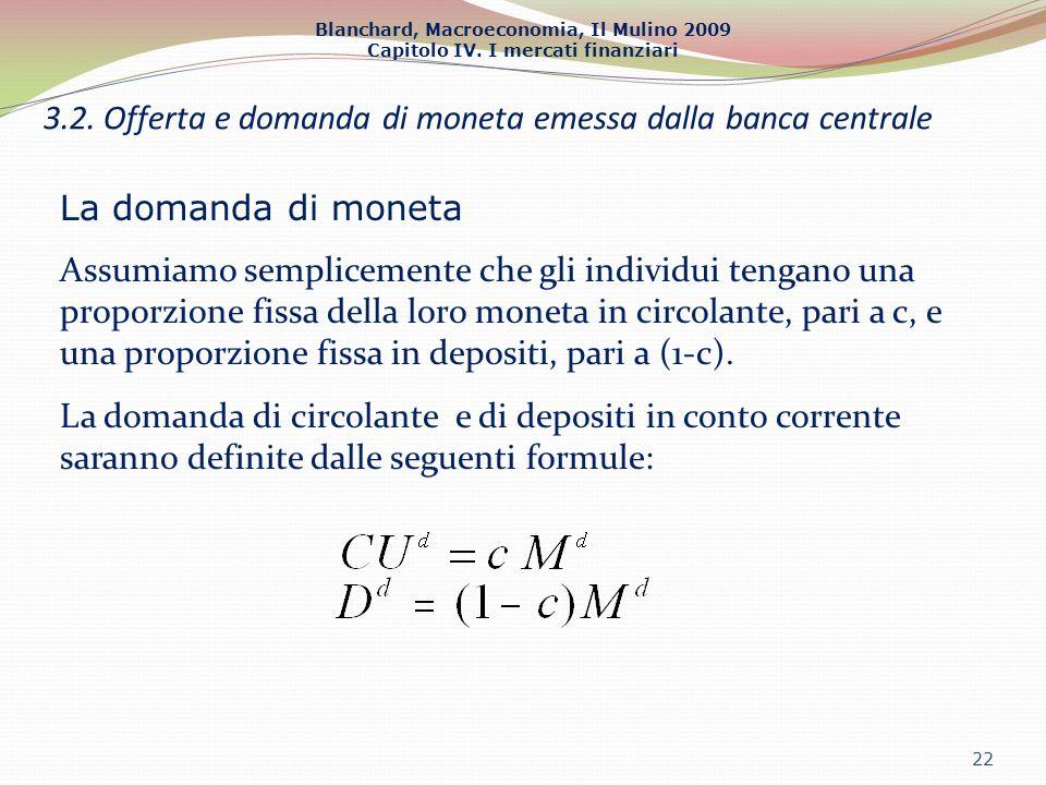 Blanchard, Macroeconomia, Il Mulino 2009 Capitolo IV. I mercati finanziari 22 3.2. Offerta e domanda di moneta emessa dalla banca centrale La domanda