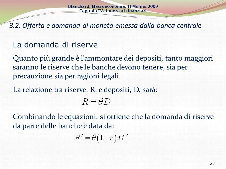 Blanchard, Macroeconomia, Il Mulino 2009 Capitolo IV. I mercati finanziari 23 3.2. Offerta e domanda di moneta emessa dalla banca centrale La domanda