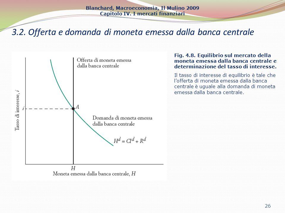 Blanchard, Macroeconomia, Il Mulino 2009 Capitolo IV. I mercati finanziari 26 3.2. Offerta e domanda di moneta emessa dalla banca centrale Fig. 4.8. E