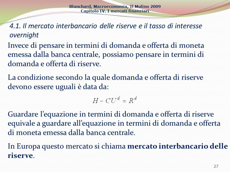 Blanchard, Macroeconomia, Il Mulino 2009 Capitolo IV. I mercati finanziari 27 4.1. Il mercato interbancario delle riserve e il tasso di interesse over