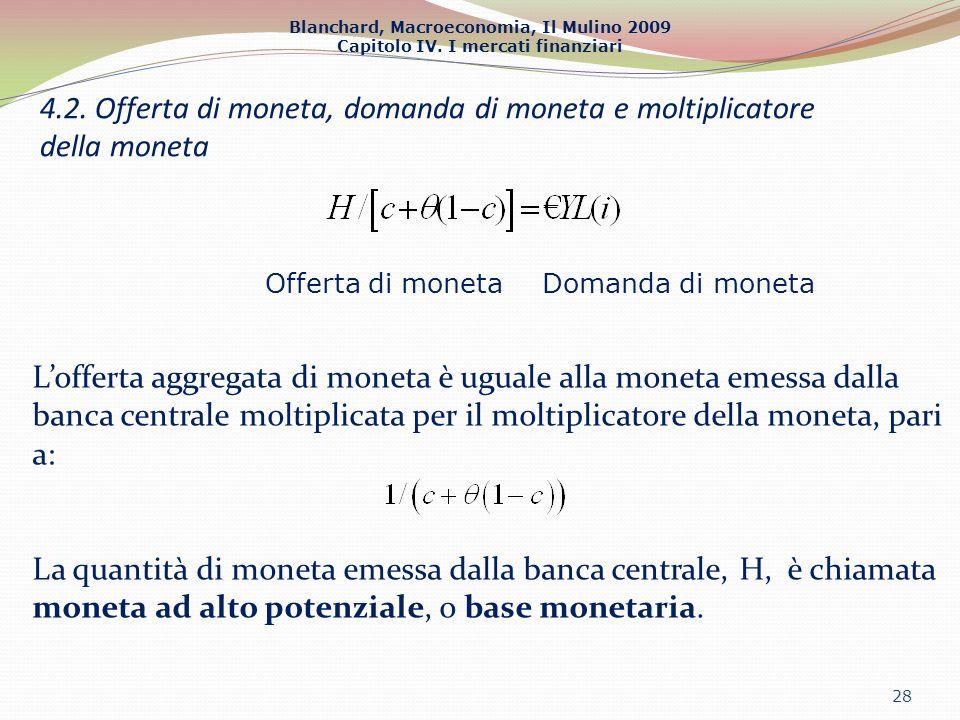 Blanchard, Macroeconomia, Il Mulino 2009 Capitolo IV. I mercati finanziari 28 Offerta di monetaDomanda di moneta Lofferta aggregata di moneta è uguale