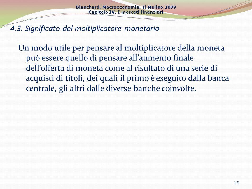 Blanchard, Macroeconomia, Il Mulino 2009 Capitolo IV. I mercati finanziari Un modo utile per pensare al moltiplicatore della moneta può essere quello