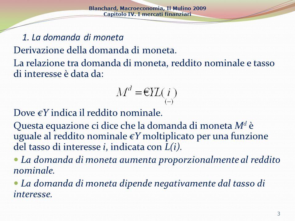 Blanchard, Macroeconomia, Il Mulino 2009 Capitolo IV. I mercati finanziari 1. La domanda di moneta Derivazione della domanda di moneta. La relazione t
