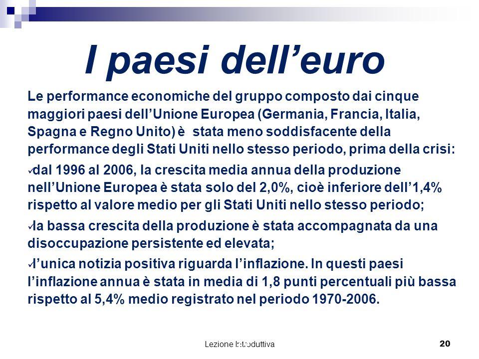 Lezione Introduttiva 21 Perché il reddito pro capite in Europa è diminuito relativamente agli Stati Uniti.