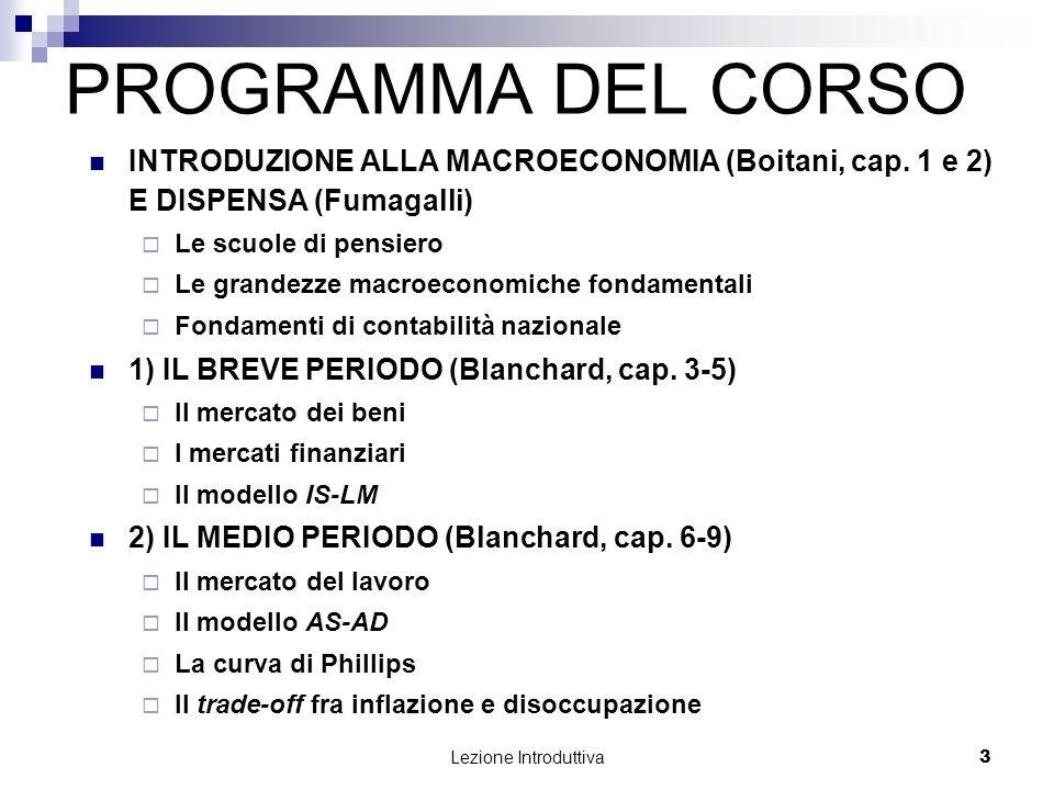 Lezione Introduttiva 4 PROGRAMMA DEL CORSO 3) IL LUNGO PERIODO (Blanchard, cap.