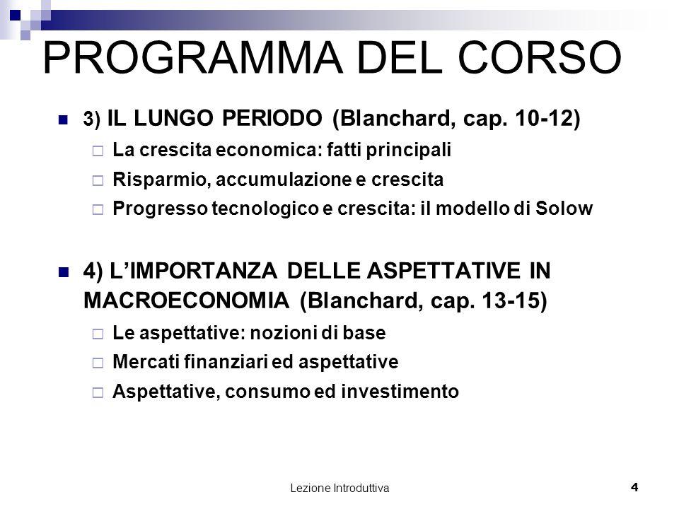 Lezione Introduttiva 5 PROGRAMMA DEL CORSO 5) ECONOMIA APERTA (Blanchard, cap.