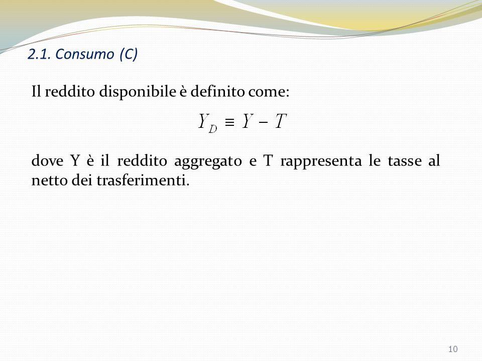 2.1. Consumo (C) Il parametro c 0 rappresenta il livello di consumo quando il reddito disponibile è zero. Il parametro c 1 è la propensione marginale