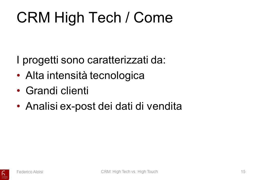 Federico AloisiCRM: High Tech vs. High Touch15 CRM High Tech / Come I progetti sono caratterizzati da: Alta intensità tecnologica Grandi clienti Anali
