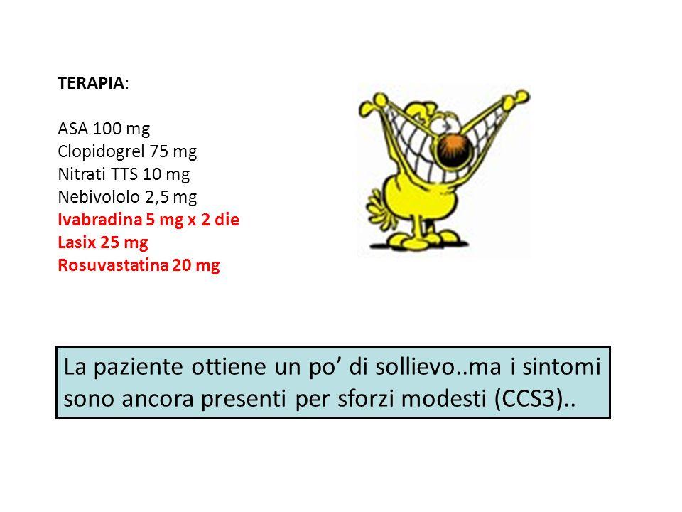 La paziente viene sottoposta a TOMOSCINTIGRAFIA MIOCARDICA PERFUSIONALE per valutare il carico ischemico residuo SPECT positiva in sede inferiore e settale
