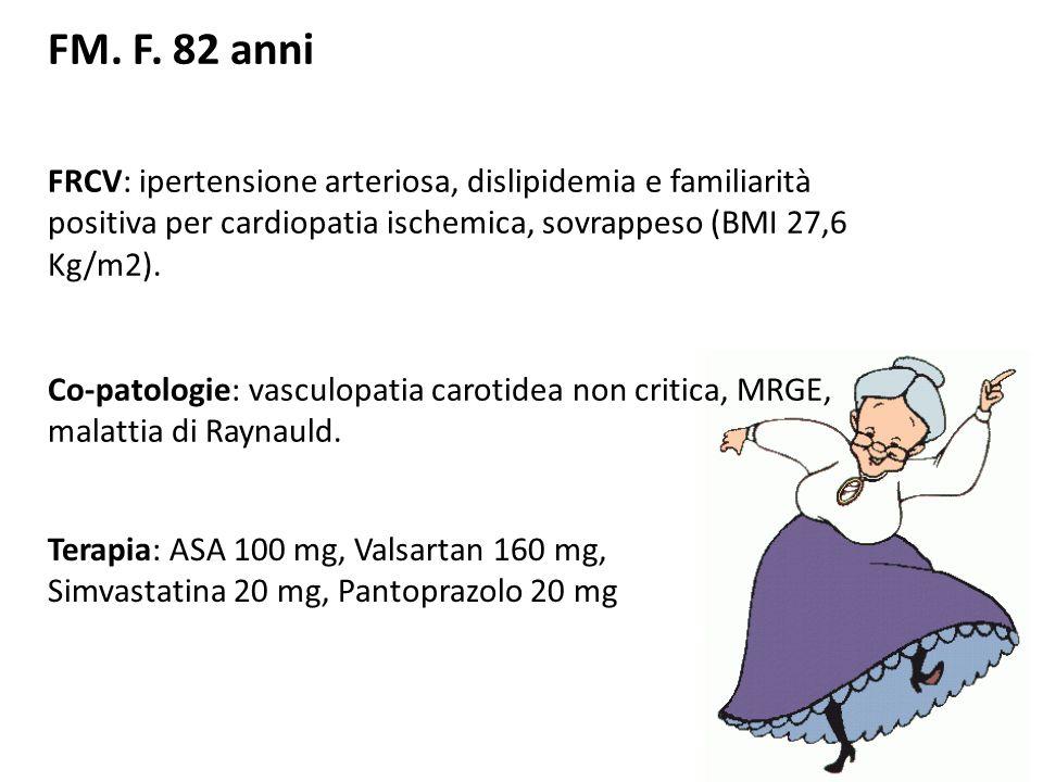 ANAMNESI CARDIOLOGICA - 1995: angina cronica stabile e riscontro coronarografico di coronaropatia trivasale trattata mediante CABG: arteria mammaria interna sinistra (LIMA) su arteria discendente anteriore; arteria mammaria interna destra (RIMA) su coronaria destra e graft venoso sequenziale (SVG) su ramo intermedio e marginale ottuso.