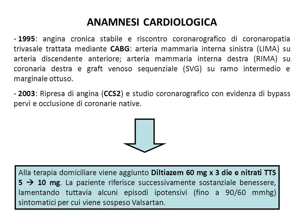 - 2009: ripresa di angina da sforzo (CCS3) per cui eseguiva SPECT: segni di ischemia inducibile in sede inferiore.