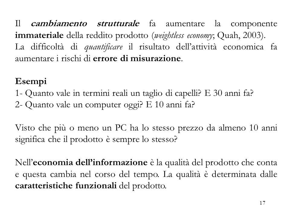 17 Il cambiamento strutturale fa aumentare la componente immateriale della reddito prodotto (weightless economy; Quah, 2003). La difficoltà di quantif