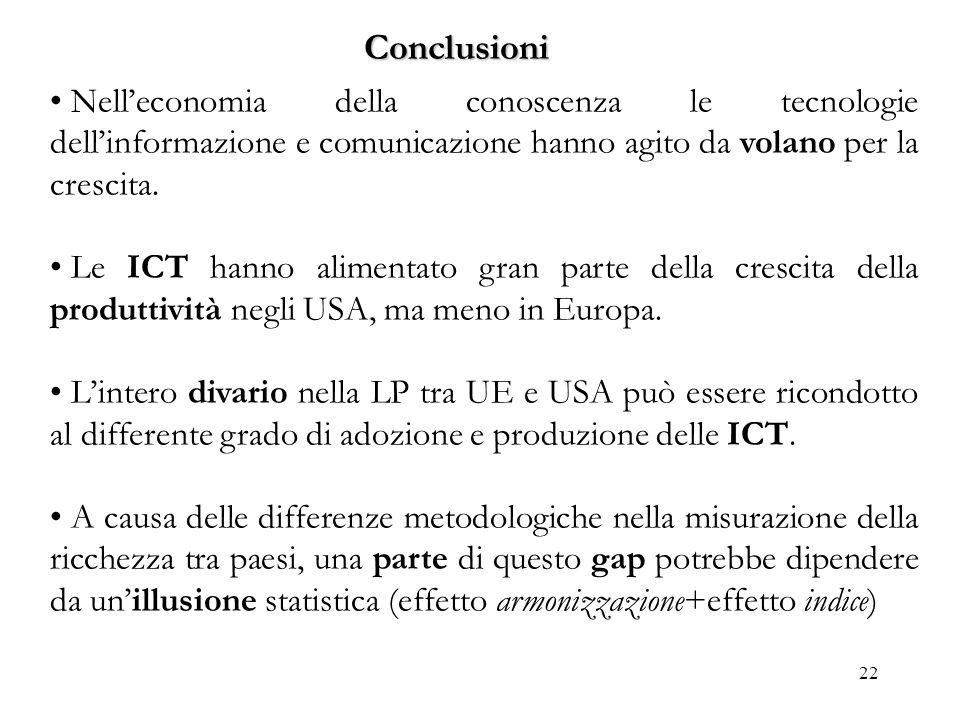 22 Conclusioni Nelleconomia della conoscenza le tecnologie dellinformazione e comunicazione hanno agito da volano per la crescita. Le ICT hanno alimen