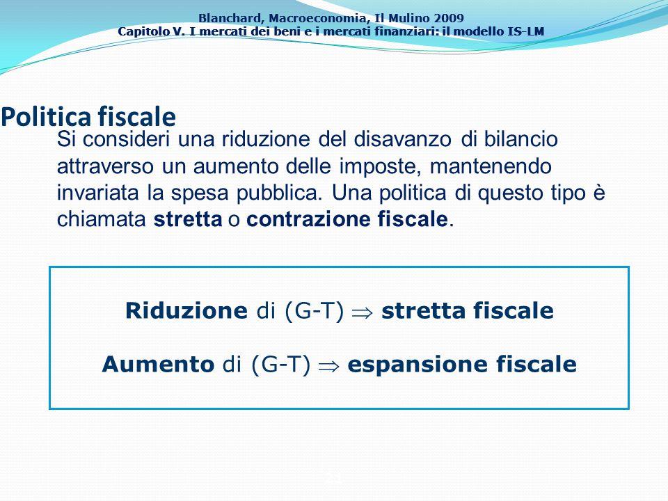 Blanchard, Macroeconomia, Il Mulino 2009 Capitolo V. I mercati dei beni e i mercati finanziari: il modello IS-LM 21 Politica fiscale Riduzione di (G-T