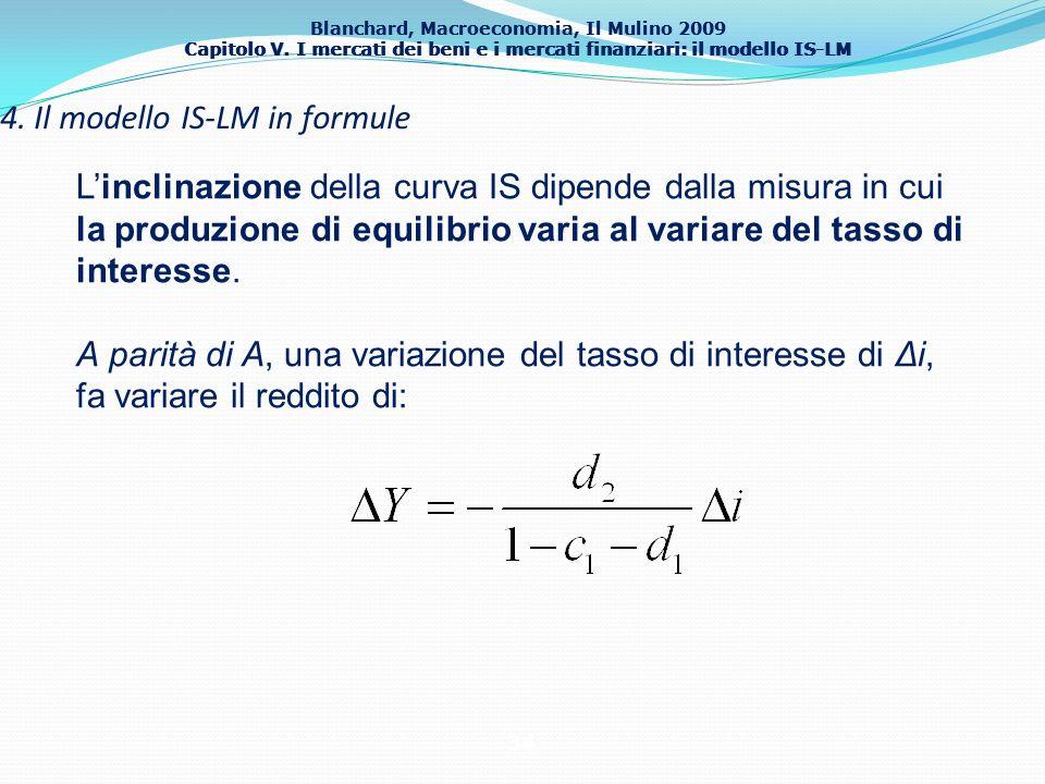 Blanchard, Macroeconomia, Il Mulino 2009 Capitolo V. I mercati dei beni e i mercati finanziari: il modello IS-LM 34 4. Il modello IS-LM in formule Lin