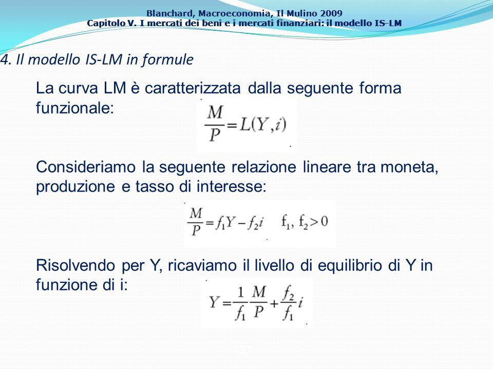 Blanchard, Macroeconomia, Il Mulino 2009 Capitolo V. I mercati dei beni e i mercati finanziari: il modello IS-LM 37 4. Il modello IS-LM in formule La