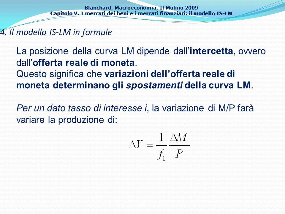 Blanchard, Macroeconomia, Il Mulino 2009 Capitolo V. I mercati dei beni e i mercati finanziari: il modello IS-LM 38 4. Il modello IS-LM in formule La