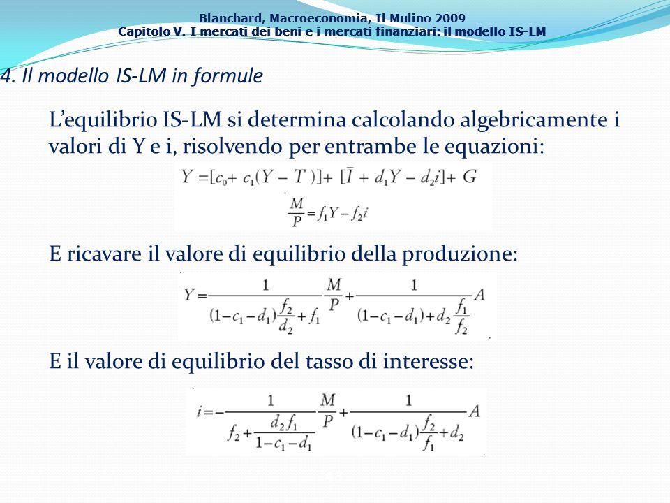 Blanchard, Macroeconomia, Il Mulino 2009 Capitolo V. I mercati dei beni e i mercati finanziari: il modello IS-LM 43 4. Il modello IS-LM in formule Leq