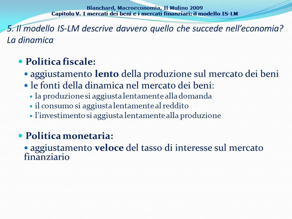 Blanchard, Macroeconomia, Il Mulino 2009 Capitolo V. I mercati dei beni e i mercati finanziari: il modello IS-LM 52 Politica fiscale: aggiustamento le