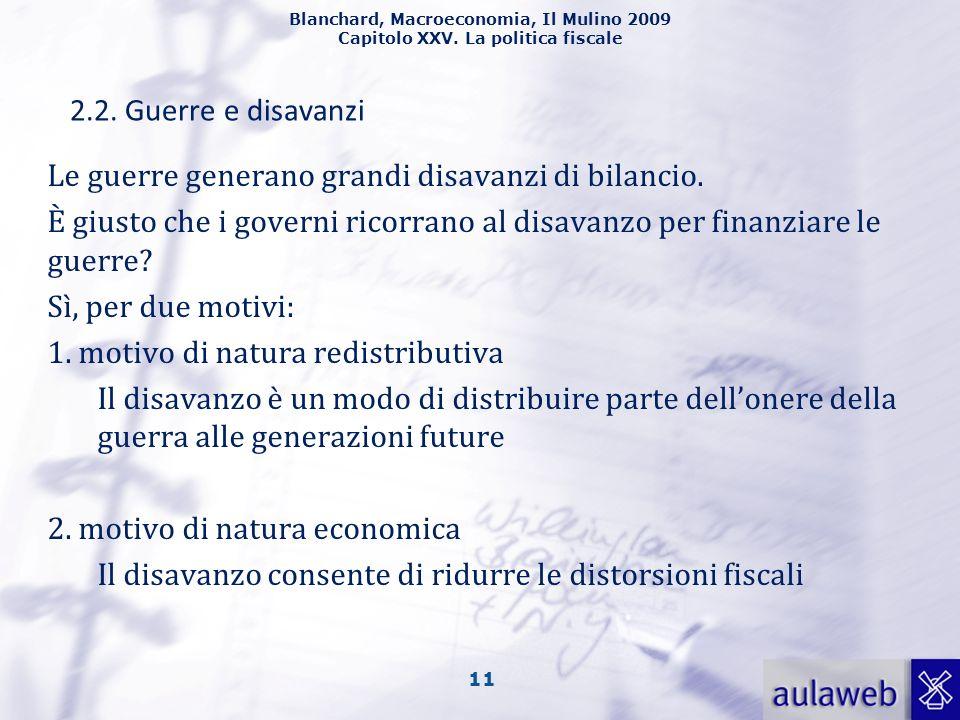 Blanchard, Macroeconomia, Il Mulino 2009 Capitolo XXV. La politica fiscale 11 2.2. Guerre e disavanzi Le guerre generano grandi disavanzi di bilancio.