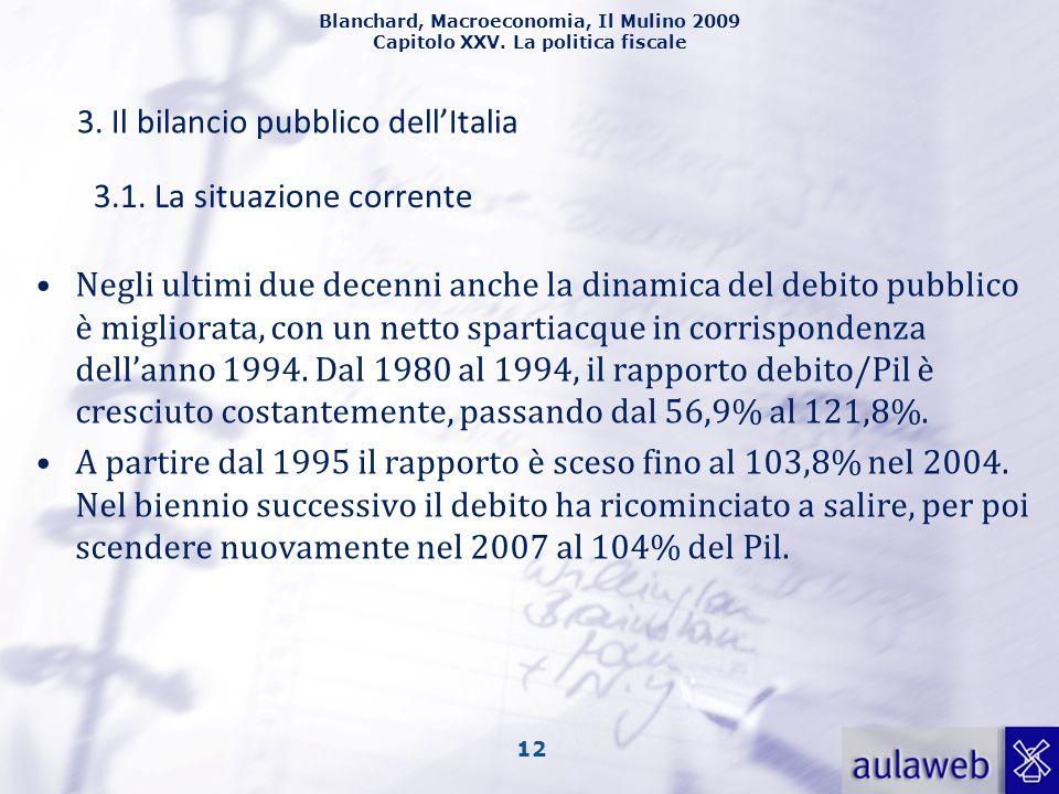 Blanchard, Macroeconomia, Il Mulino 2009 Capitolo XXV. La politica fiscale 12 3. Il bilancio pubblico dellItalia Negli ultimi due decenni anche la din