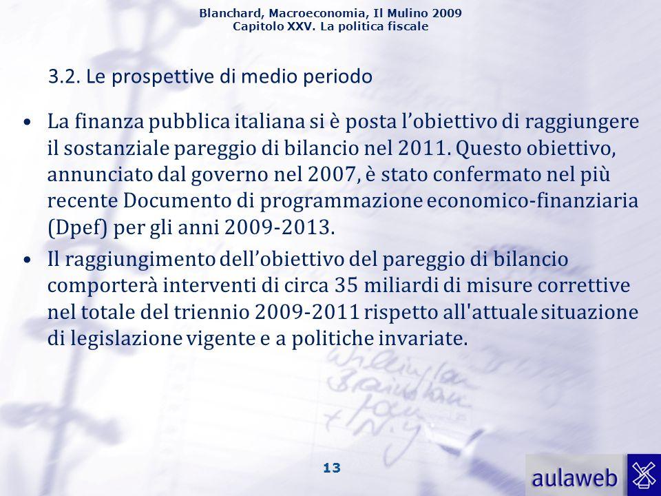 Blanchard, Macroeconomia, Il Mulino 2009 Capitolo XXV. La politica fiscale 13 3.2. Le prospettive di medio periodo La finanza pubblica italiana si è p
