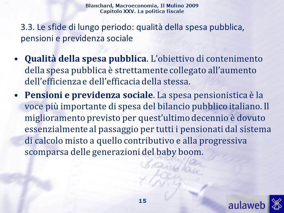 Blanchard, Macroeconomia, Il Mulino 2009 Capitolo XXV. La politica fiscale 15 3.3. Le sfide di lungo periodo: qualità della spesa pubblica, pensioni e