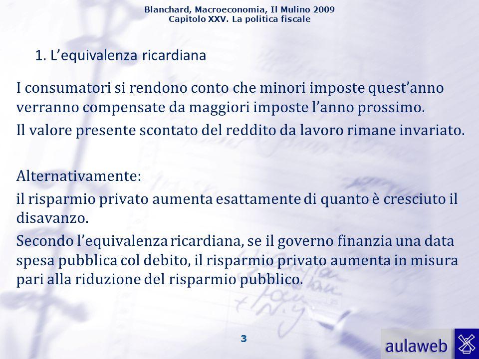 Blanchard, Macroeconomia, Il Mulino 2009 Capitolo XXV. La politica fiscale 3 1. Lequivalenza ricardiana I consumatori si rendono conto che minori impo