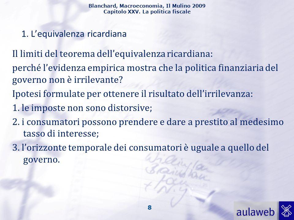 Blanchard, Macroeconomia, Il Mulino 2009 Capitolo XXV. La politica fiscale 8 1. Lequivalenza ricardiana Il limiti del teorema dellequivalenza ricardia