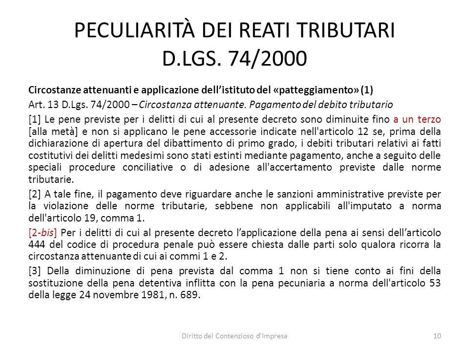 PECULIARITÀ DEI REATI TRIBUTARI D.LGS.