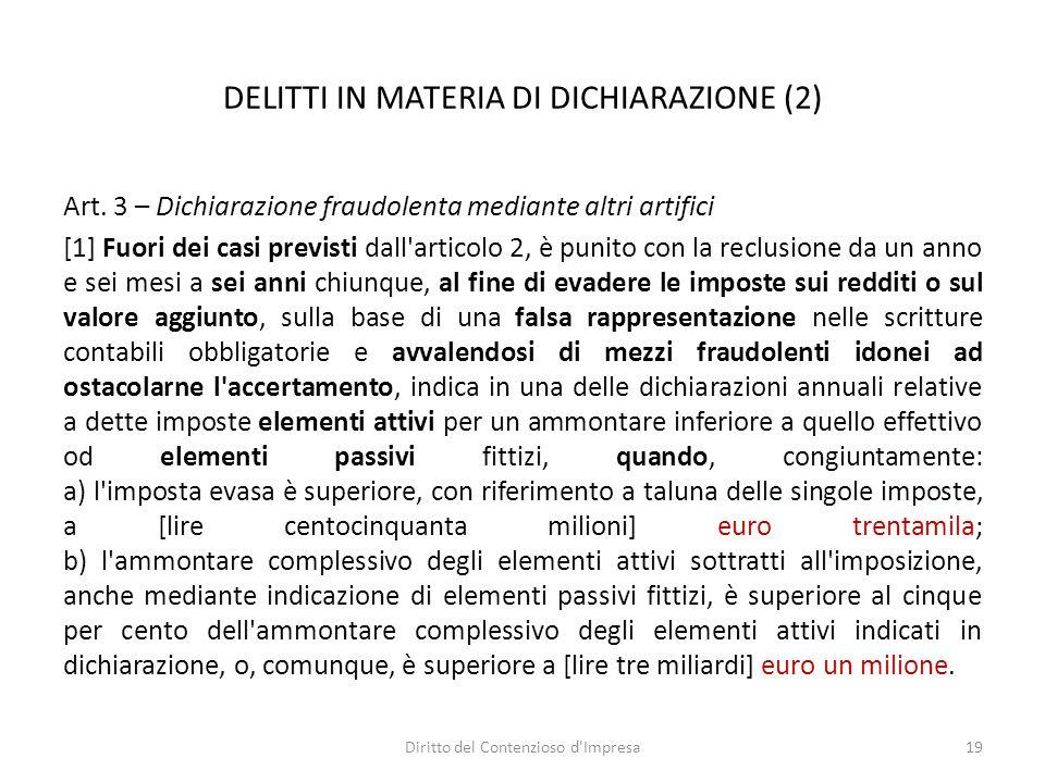 DELITTI IN MATERIA DI DICHIARAZIONE (2) Art.