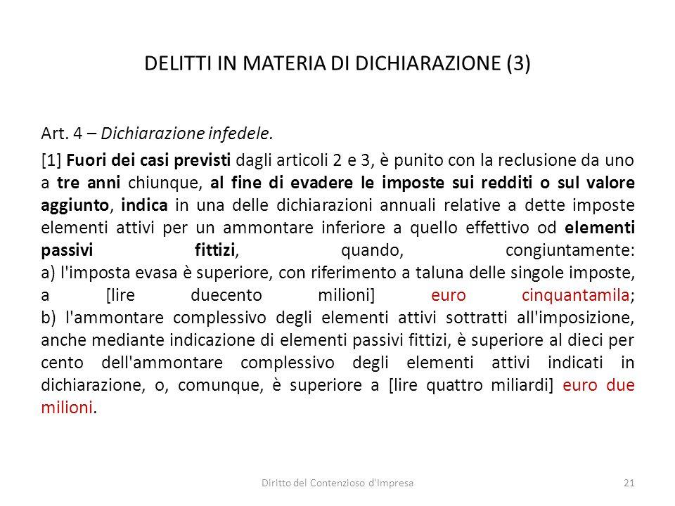 DELITTI IN MATERIA DI DICHIARAZIONE (3) Art. 4 – Dichiarazione infedele.