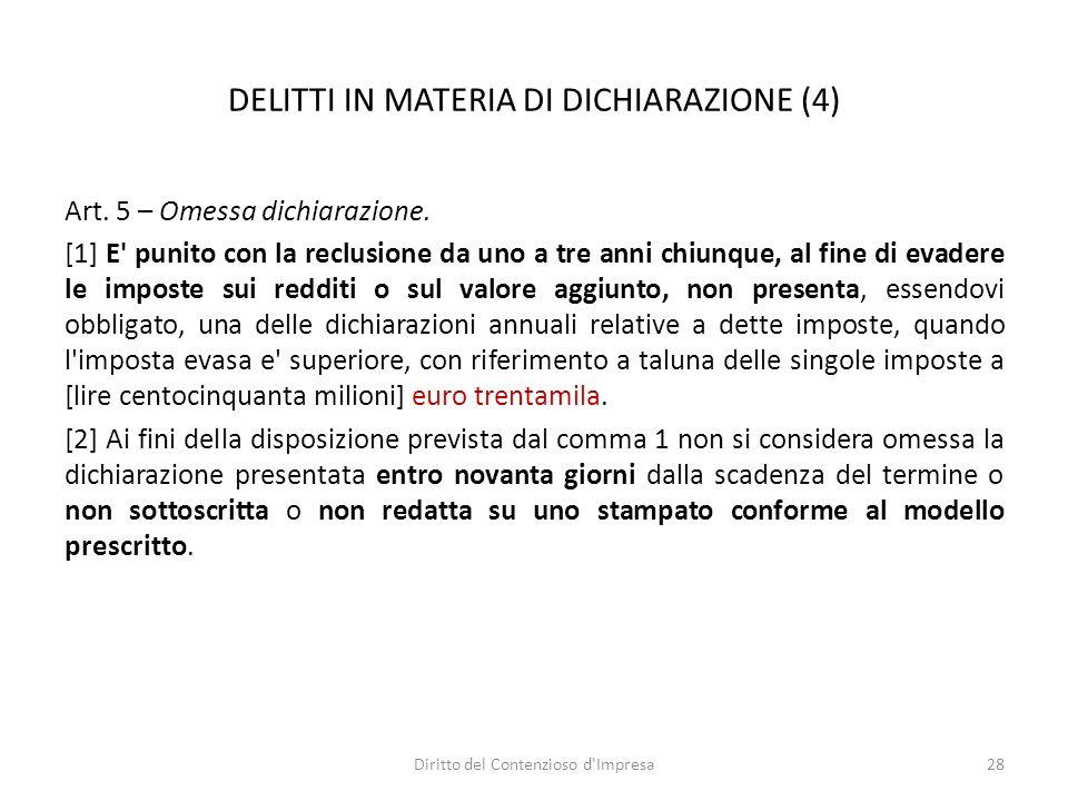DELITTI IN MATERIA DI DICHIARAZIONE (4) Art. 5 – Omessa dichiarazione.
