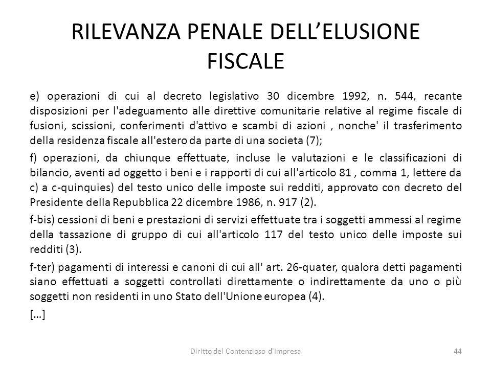 RILEVANZA PENALE DELLELUSIONE FISCALE e) operazioni di cui al decreto legislativo 30 dicembre 1992, n.