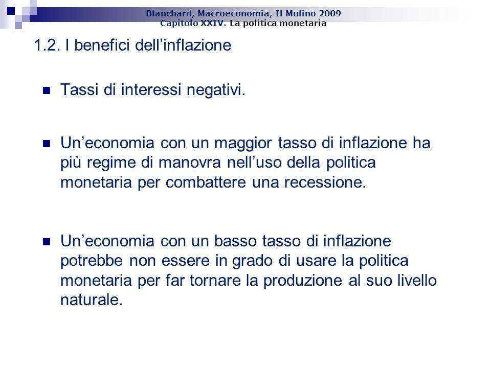Blanchard, Macroeconomia, Il Mulino 2009 Capitolo XXIV. La politica monetaria 12 Tassi di interessi negativi. Uneconomia con un maggior tasso di infla