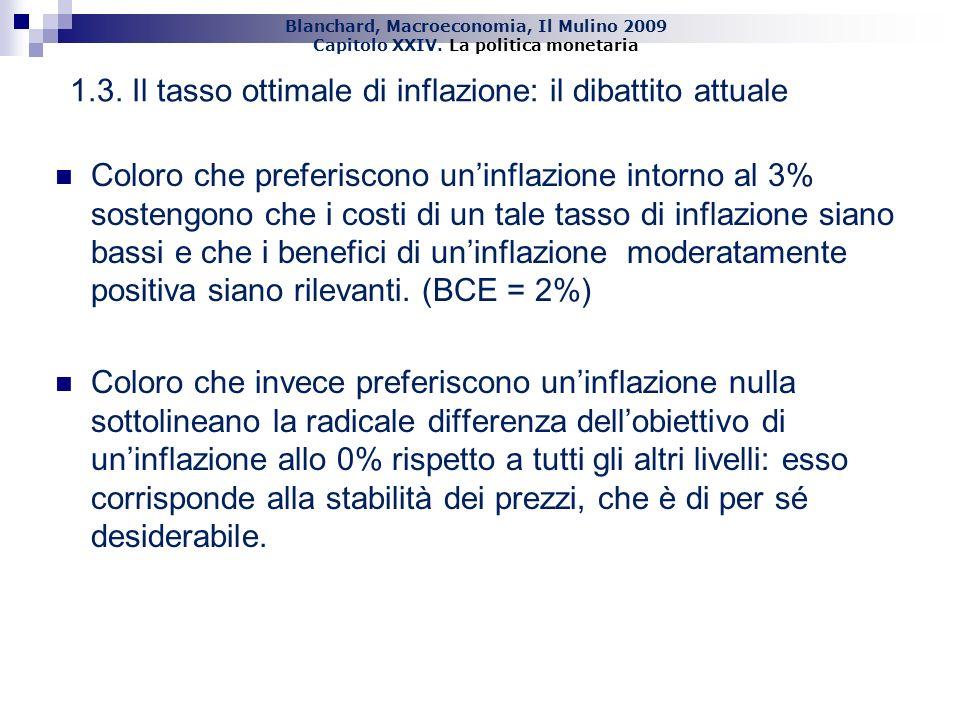 Blanchard, Macroeconomia, Il Mulino 2009 Capitolo XXIV. La politica monetaria 14 1.3. Il tasso ottimale di inflazione: il dibattito attuale Coloro che