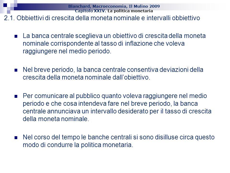 Blanchard, Macroeconomia, Il Mulino 2009 Capitolo XXIV. La politica monetaria 15 2.1. Obbiettivi di crescita della moneta nominale e intervalli obbiet