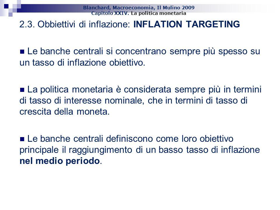 Blanchard, Macroeconomia, Il Mulino 2009 Capitolo XXIV. La politica monetaria 19 2.3. Obbiettivi di inflazione: INFLATION TARGETING Le banche centrali