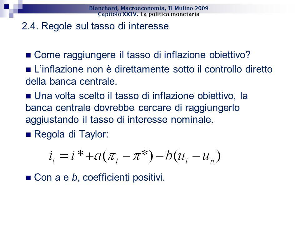 Blanchard, Macroeconomia, Il Mulino 2009 Capitolo XXIV. La politica monetaria 21 2.4. Regole sul tasso di interesse Come raggiungere il tasso di infla