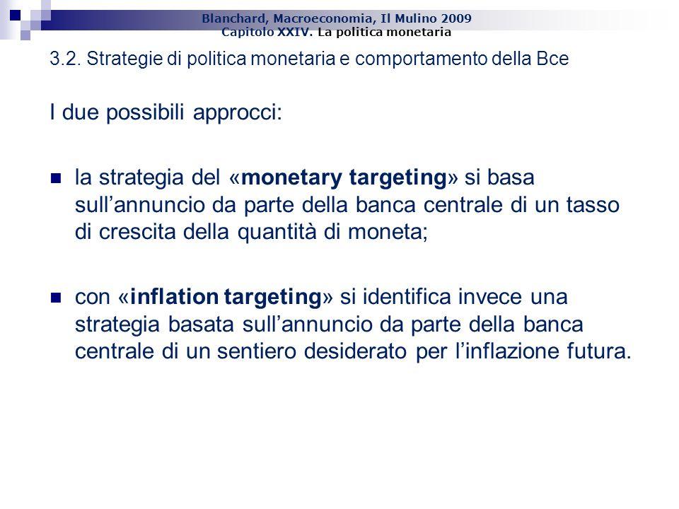 Blanchard, Macroeconomia, Il Mulino 2009 Capitolo XXIV. La politica monetaria 24 3.2. Strategie di politica monetaria e comportamento della Bce I due