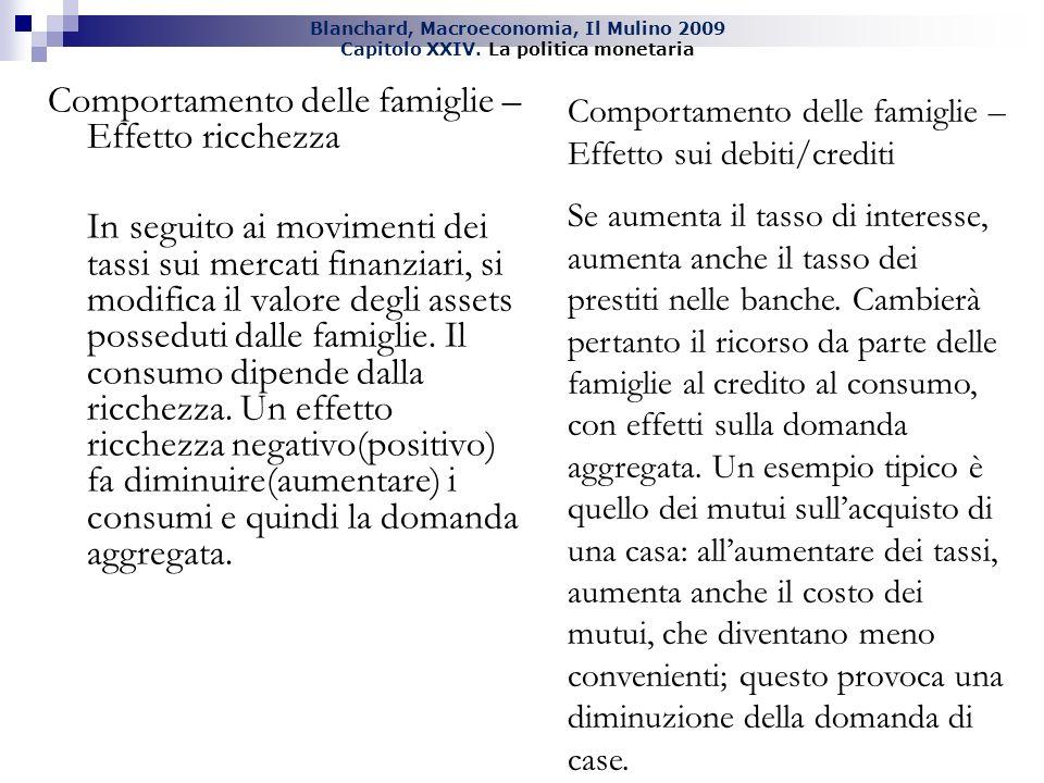 Blanchard, Macroeconomia, Il Mulino 2009 Capitolo XXIV. La politica monetaria Comportamento delle famiglie – Effetto ricchezza In seguito ai movimenti