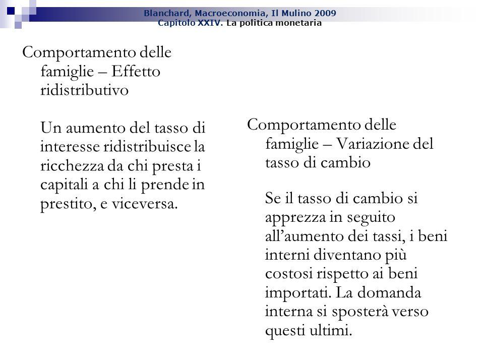 Blanchard, Macroeconomia, Il Mulino 2009 Capitolo XXIV. La politica monetaria Comportamento delle famiglie – Effetto ridistributivo Un aumento del tas