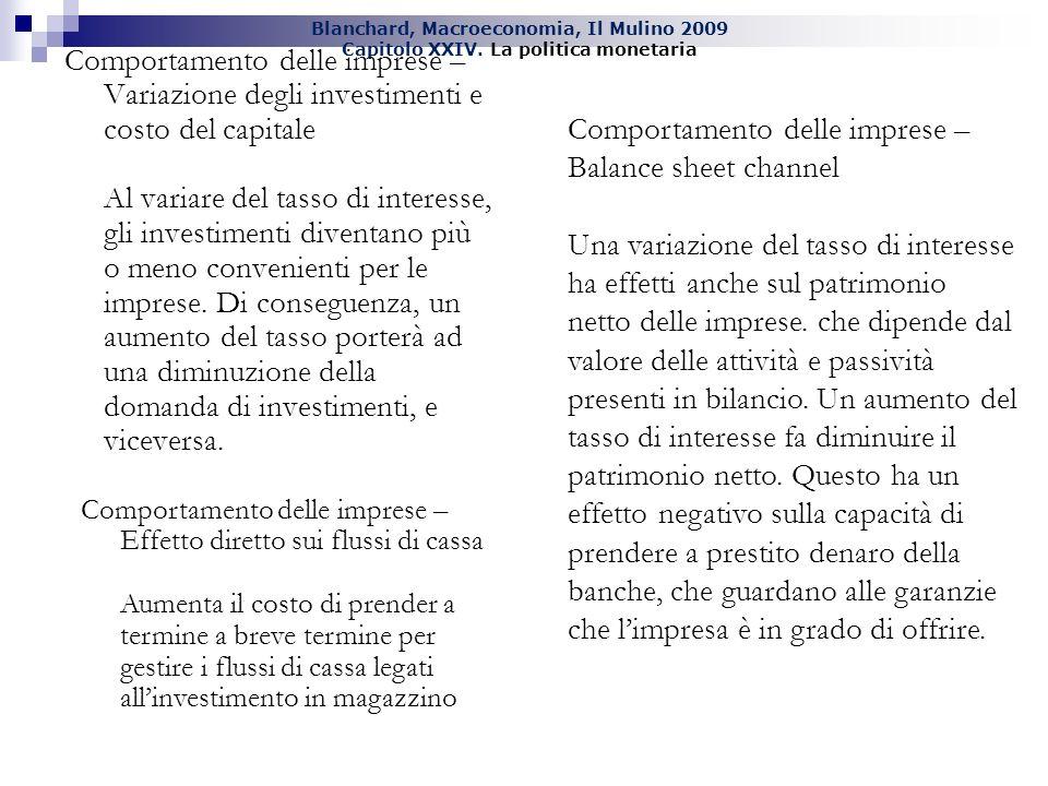 Blanchard, Macroeconomia, Il Mulino 2009 Capitolo XXIV. La politica monetaria Comportamento delle imprese – Variazione degli investimenti e costo del