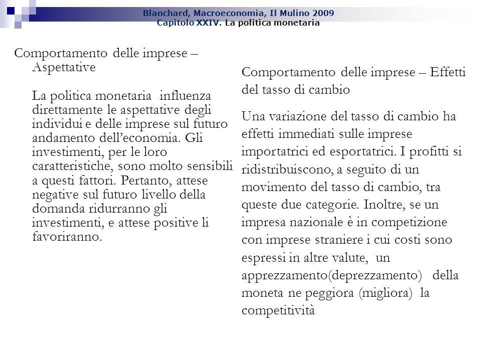Blanchard, Macroeconomia, Il Mulino 2009 Capitolo XXIV. La politica monetaria Comportamento delle imprese – Aspettative La politica monetaria influenz
