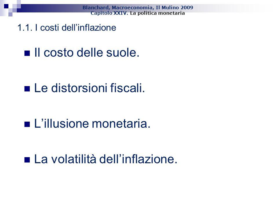 Blanchard, Macroeconomia, Il Mulino 2009 Capitolo XXIV. La politica monetaria 5 1.1. I costi dellinflazione Il costo delle suole. Le distorsioni fisca